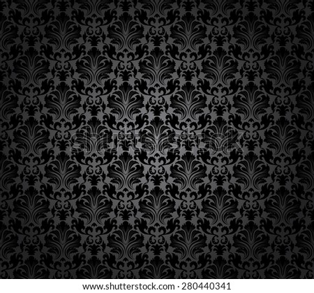 Damask Seamless Vector Pattern.  Elegant Design in Baroque Style Background. Floral and Swirl Element. Black, Grey Gradients Color. Ideal for Textile Print and Wallpapers.