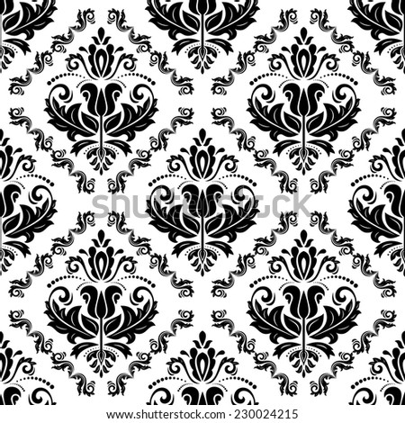 Damask vector floral light pattern with arabesque and oriental black elements. Seamless abstract traditional ornament for wallpapers and background - stock vector
