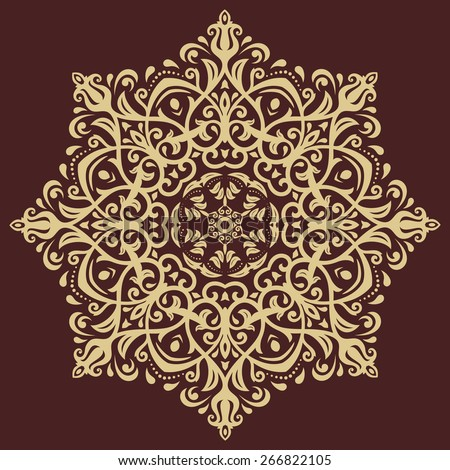 Damask vector floral pattern with arabesque and oriental elements. Abstract traditional golden ornament for backgrounds - stock vector