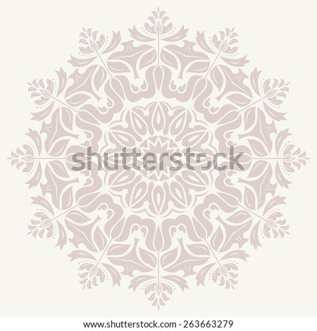 Damask vector floral pattern with arabesque and oriental elements. Abstract traditional pink ornament for backgrounds - stock vector