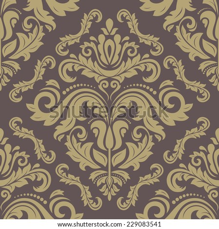 Damask vector floral pattern with arabesque and oriental golden elements. Seamless abstract traditional ornament for wallpaper and background - stock vector