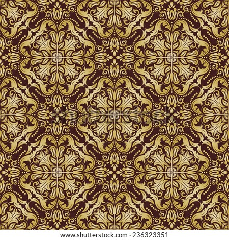 Damask vector floral pattern with arabesque and oriental golden elements. Seamless abstract traditional ornament for wallpapers and backgrounds