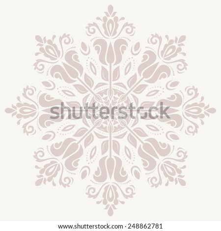 Damask vector floral pattern with arabesque and oriental pink elements. Abstract traditional ornament for backgrounds - stock vector
