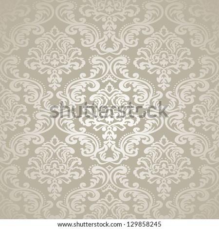 Damask vintage floral seamless  pattern background, vector  illustration. - stock vector