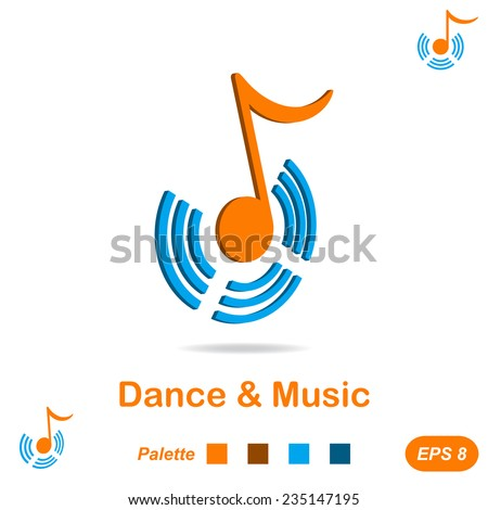 Dance and music concept, icon variations, 2d & 3d illustration, vector, eps 8 - stock vector