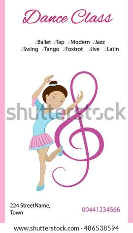 Dance classes poster invitation design cute stock vector royalty dance classes poster invitation design with cute cartoon ballerina vector stopboris Choice Image