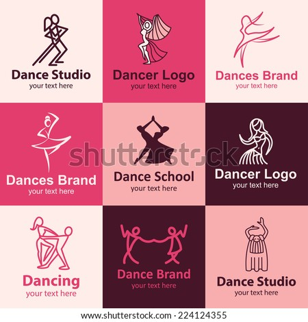 Dance flat icons set logo ideas for brand - stock vector
