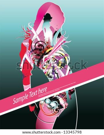 dance girl poster - stock vector