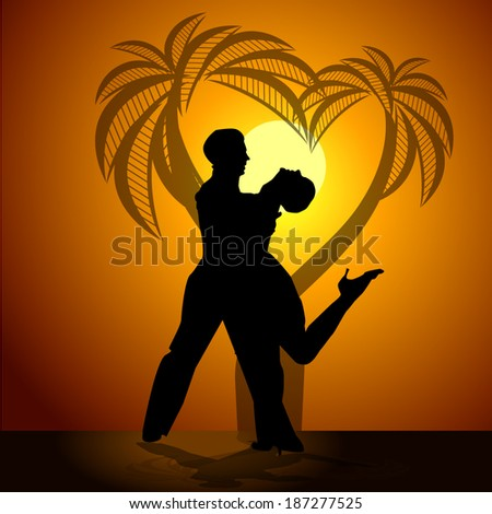 Dance loving couple at sunset with palm trees. Vector - stock vector