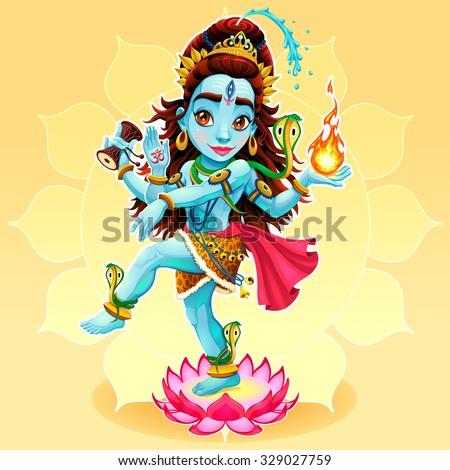Dance of Shiva. Funny representation of eastern god, vector cartoon illustration. - stock vector