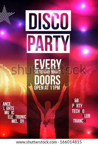 Disco Party Poster Background Template Vector Stock Vector