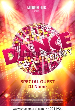 Dance Party Poster Background Template - Vector Illustration. Disco ball. - stock vector