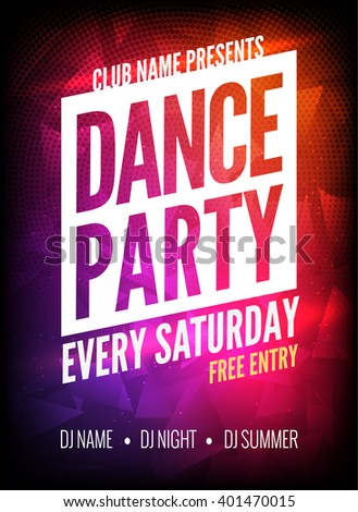 Dance Party Poster Event Template. Night Dance Party fun flyer design template on dark colorful background.