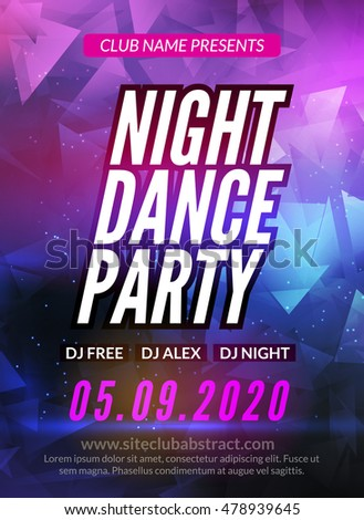 Dance Party Poster Template. Night Dance Party flyer. Club party design template on dark colorful background. DJ promotion design.