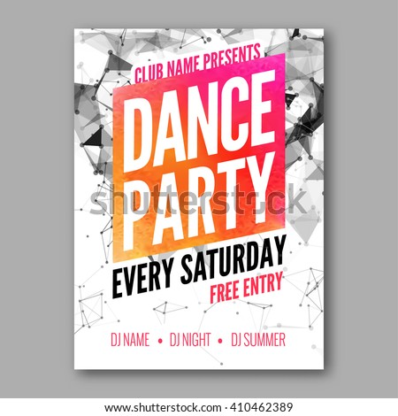 Dance Party Poster Template. Night Dance Party flyer. DJ session. Club party design template on dark colorful background. Dance party watercolor background - stock vector