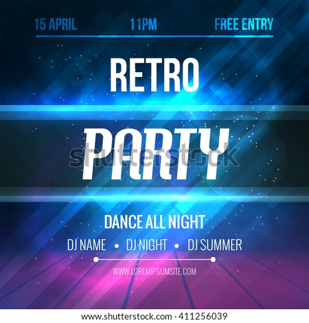 Dance Retro Party Poster Template. Night Retro Dance Party flyer. design template on dark colorful background - stock vector