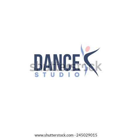 Dance studio logo design vector template. Abstract human figure icon - stock vector
