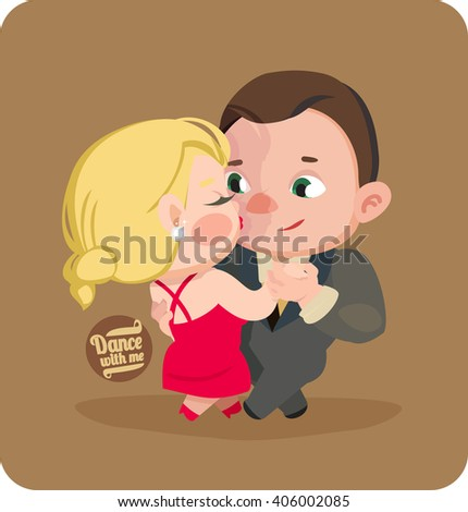Dance with me. Man and woman dancing tango. Tango and passion - stock vector