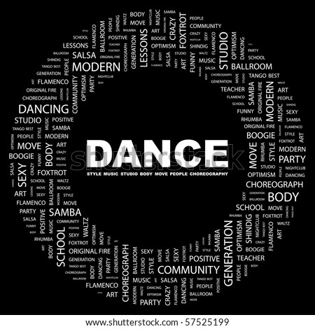DANCE. Word collage on black background. Illustration with different association terms.