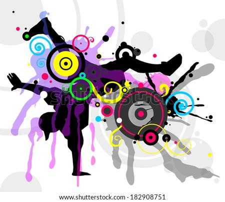 Dancer in abstract splashes - stock vector