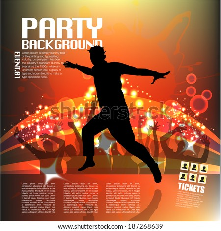 Dancer on Party Background - stock vector