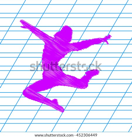 Dancer sign illustration. Violet scribble icon with school paper. - stock vector