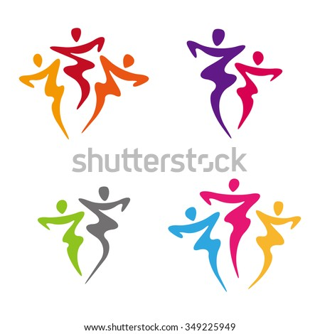 Dancers illustration. Dancing people logo set. Tango. Vector collection of abstract people in dancing poses.You can use in the dance, spa, yoga ,sport and other organization concept of pattern.