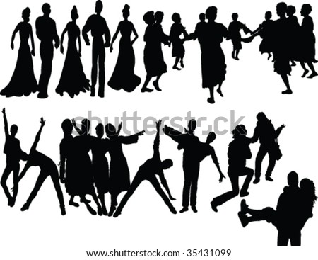 dancers silhouette - vector