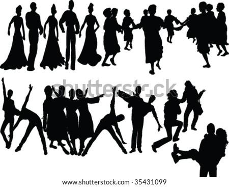 dancers silhouette - vector - stock vector