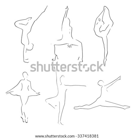 Dancers thin line drawing. Dancer set Sketches drawn. Isolated on white background.