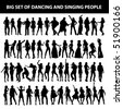 dancing and singing people's silhouette isolated on white background - stock vector