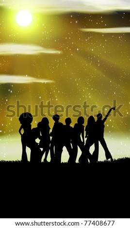 dancing at a night background with place for text - stock vector