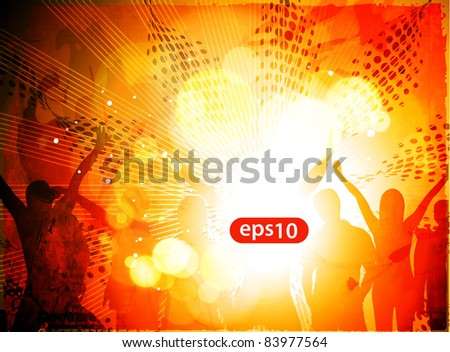 Dancing background of music party people vector. - stock vector