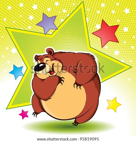 Dancing Bear: funny dancing bear, disco style, cartoon character