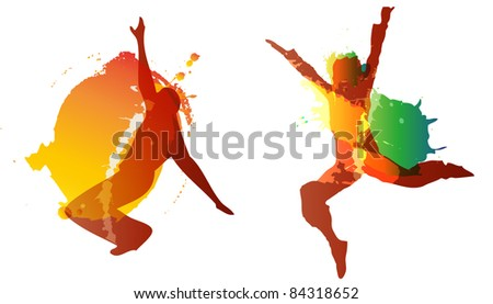 dancing boy and girl with colorful vector splashes, drops on white background. - stock vector