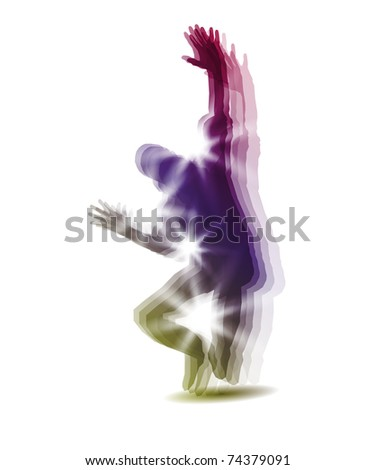 Dancing boy silhouette - stock vector