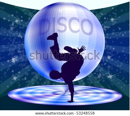 Dancing boy with disco background. - stock vector