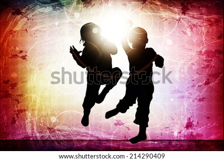 Dancing children silhouettes - stock vector