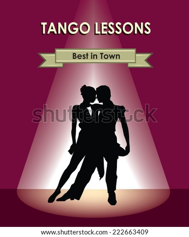Dancing club poster. Couple dancing. Beautiful professional dancers perform tango dance with passion.  - stock vector