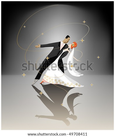 dancing couple - stock vector