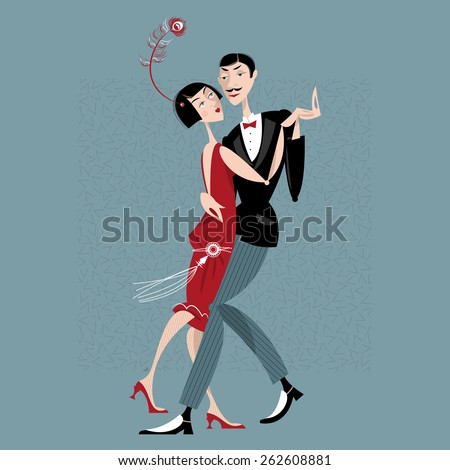 Dancing couple. Art deco. Retro. Vector illustration.  - stock vector