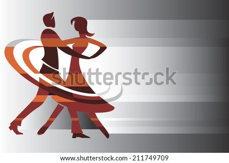 Dancing couple background Dancing couple on the abstract background. Vector illustration.  - stock vector
