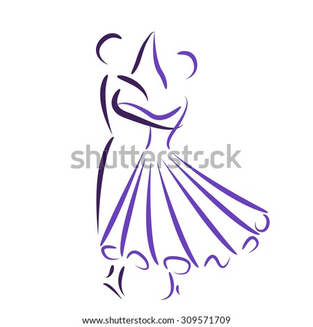 Dancing couple logo isolated on white background. Waltz dancers vector illustration.  - stock vector