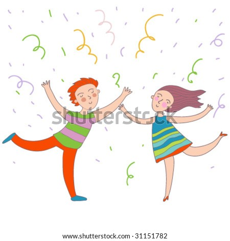 dancing couple on the party in vector - stock vector