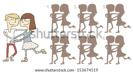 Dancing Couple Shadows Visual Game. Task: find the right shadow image! Answer: No. 3. Illustration is in eps8 vector mode! - stock vector