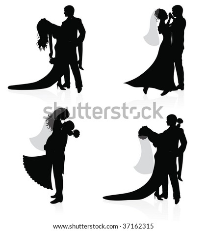 Dancing couples of a groom and a bride. - stock vector