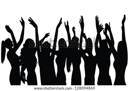 dancing girl at party, vector - stock vector