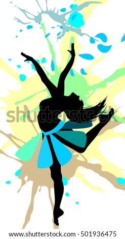 Dancing girl in abstract splashes.