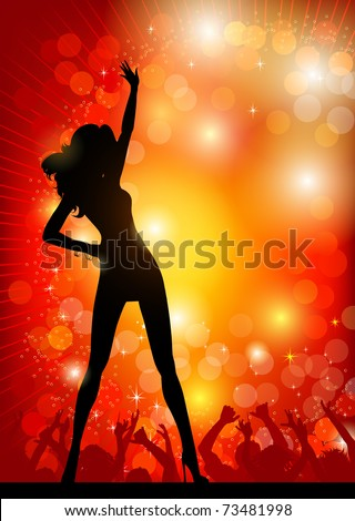 Dancing girl in the nightclub - stock vector