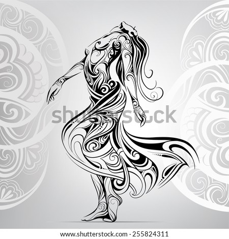 Dancing girl in the ornament - stock vector